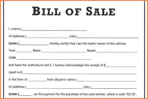 12 used car bill of sale as is no warranty simple cash bill
