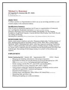Construction Sle Resume by Building Superintendent Resume Sales Superintendent