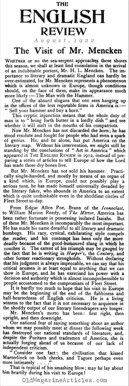 Hl Mencken Essays by Hl Mencken Magazine Article 1922 Magazine Article About Hl Mencken Hl Mencken In Hl