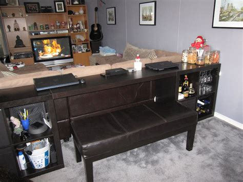 desk behind couch expedit sofa table bar computer desk ikea hackers ikea