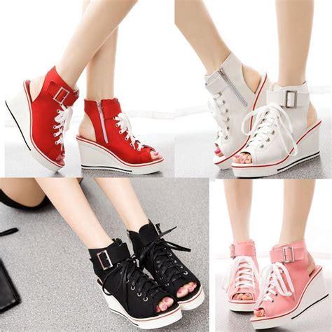 New Best Seller Sepatu Sandal Wanita Wedges Heels Flatshoes Boot Sn new womens peep toe platform canvas sandals wedge heel sneakers high top shoe us ebay