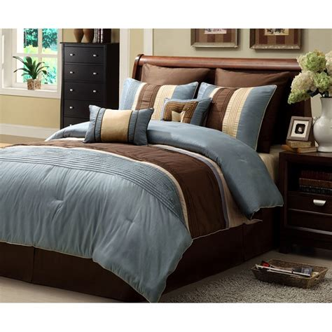 8pc chic blue brown striped design comforter set king ebay