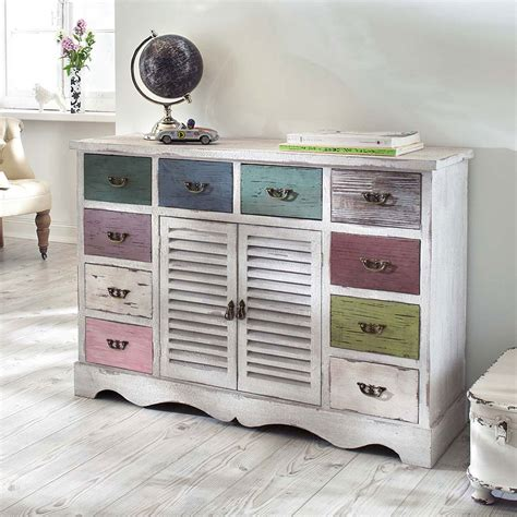 Shabby Style by Wei 223 E Shabby Kommode Mit Pastell Schubladen Vintage
