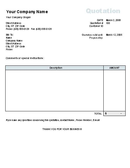 Sle Price Quotation Form Without Tax Calculation Invoices Ready Made Office Templates Price Quote Template