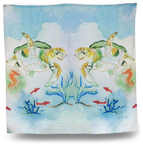 turtle shower curtains bath accessory sets betsy sea turtle print shower curtain 70 x 72 in traditional shower curtains by zeckos