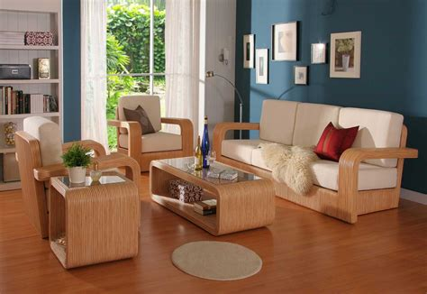 Living Room Wooden Furniture Photos Beautiful Wood Living Room Furniture With White Foam For Minimalist Living Room Design With Wood