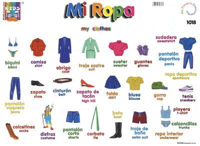 imagenes de ropa en ingles y español mi ropa my clothes