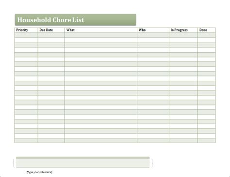 ms excel household chore list template document templates