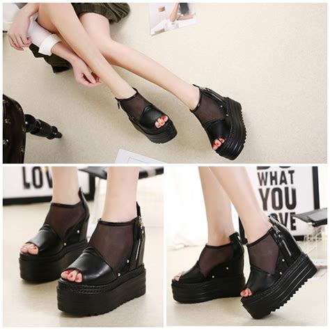 Flat Black Modis by Jual Shw116821 Black Sepatu Wedges Modis 13cm
