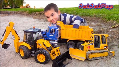 truck kid bruder trucks for unboxing jcb backhoe dump