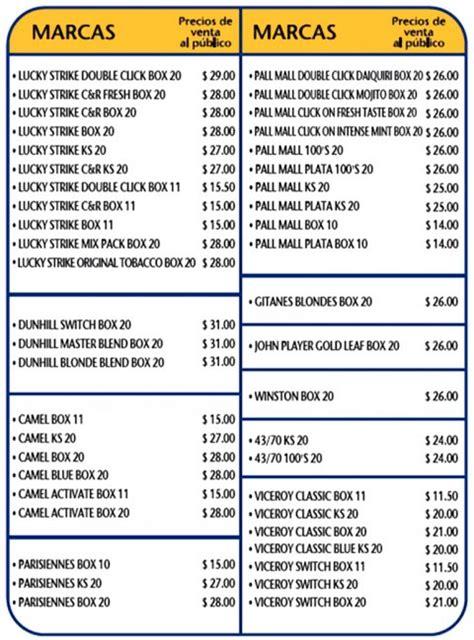 precio cigarros 2016 nobleza piccardo lista nuevos precios cigarrillos julio 2017