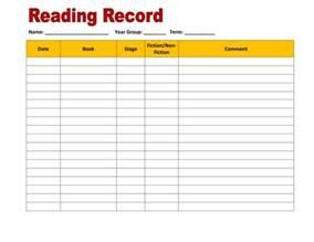 reading record recording sheet by hroberts999 teaching