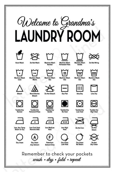 printable laundry instructions customizable laundry symbols print by letteredandlined on