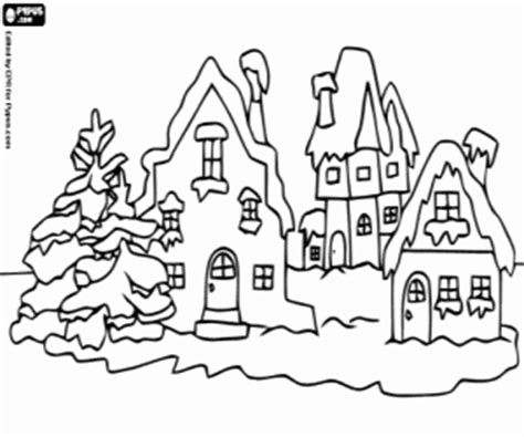 snow village coloring page christmas landscapes coloring pages printable games 2