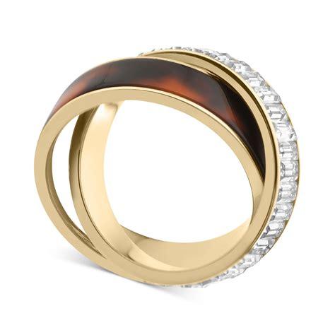 Michael Kors Ring by Michael Kors Goldtone Tortoise Baguette Crisscross Ring In