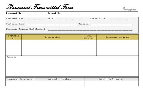 Transmittal Document Format document transmittal form format