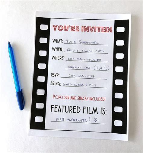 printable birthday invitations movie movie night party invitation free printable birthdays