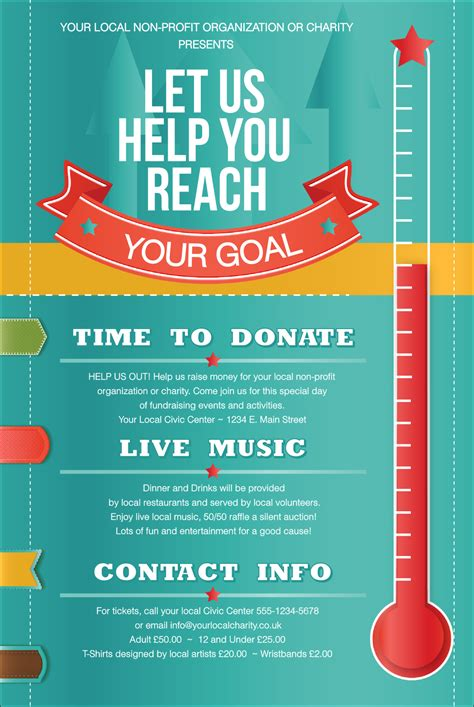 fundraising posters templates for free fundraising thermometer poster