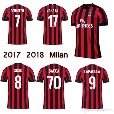 Jersey Ac Milan Home Sleeve Musim 2017 2018 2017 2018 ac milan jersey 17 18 home soccer jerseys