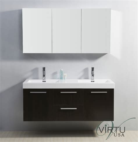54 Inch Double Sink Bathroom Vanity with Faucets Included