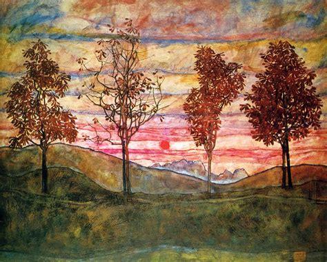 Four Trees Egon Schiele Wallpaper Image