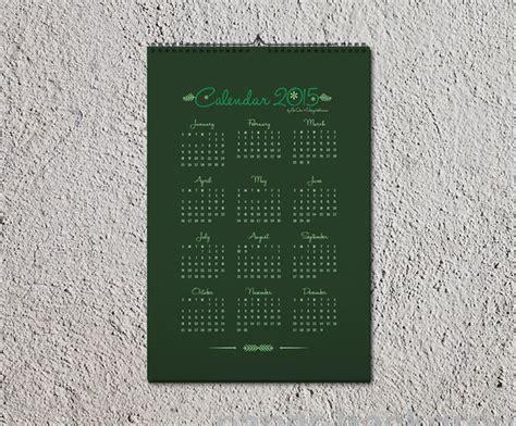 free wall calendar 2015 design template mockup psd