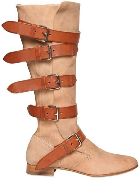 vivienne westwood suede and leather pirate boots in brown