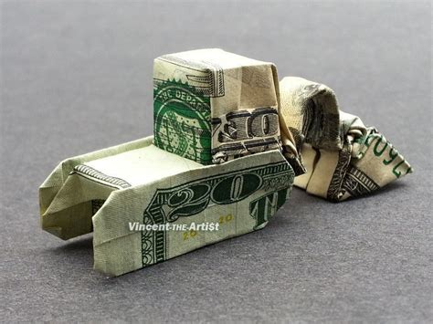 origami 20 dollar bill 20 bill money origami excavator dollar bill made