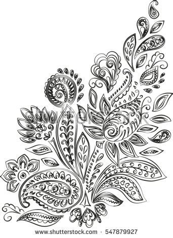 henna tattoo embroidery designs beautiful floral paisley seamless stock vector 162650534