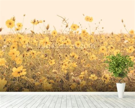 yellow flower wallpaper for walls vintage yellow flower meadow wallpaper wall mural
