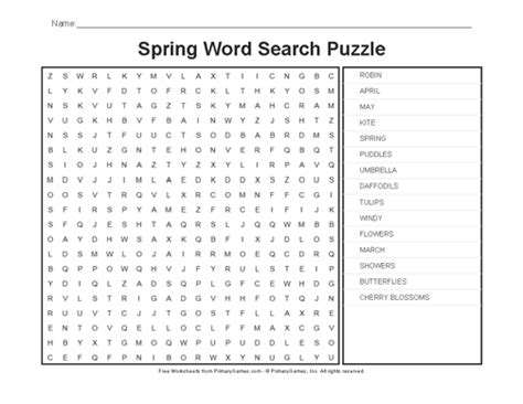 printable word search about spring spring worksheets spring word search puzzle