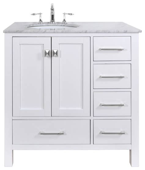 36 White Bathroom Vanity Malibu White Single Sink 36 Inch Bathroom Vanity Transitional Bathroom Vanities And