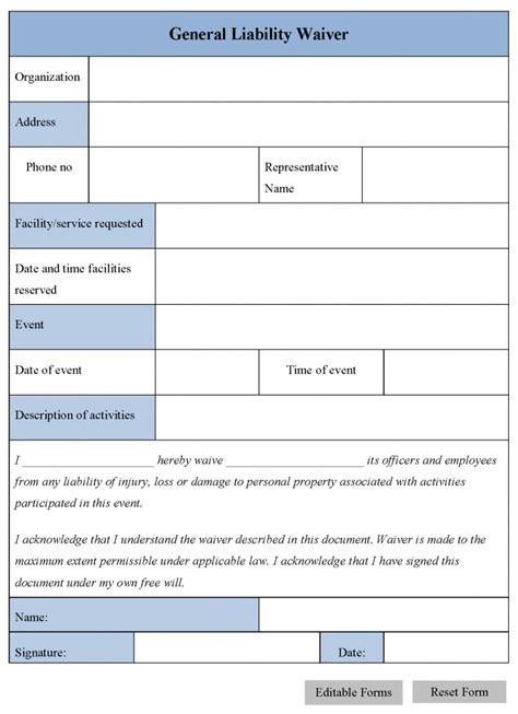 waiver form template printable sle release and waiver of liability agreement