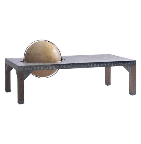 Metal Industrial Coffee Table Elliot Industrial Loft Metal Inset Globe Coffee Table Kathy Kuo Home