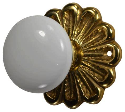 Porcelain Door Knob Sets by Flower Rosette White Porcelain Door Knob Set Polished