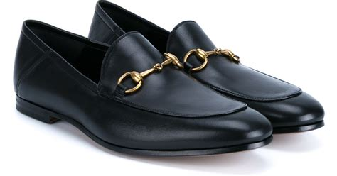 black gucci loafers gucci horsebit leather loafers in black for lyst