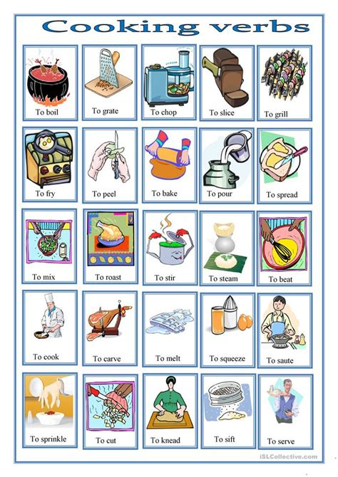 cooking verbs pictionary worksheet free esl printable worksheets made by teachers