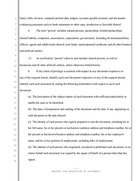 Response Letter Requesting Documents Sle California Request For Documents For Divorce