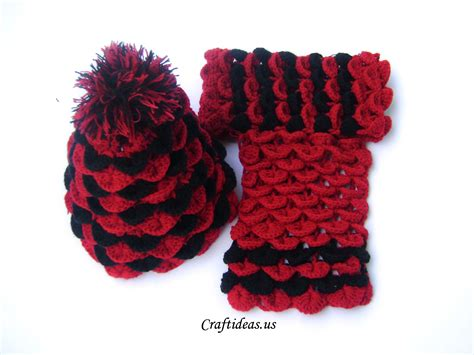 crochet craft projects crochet crocodile hat and scarf for craft ideas