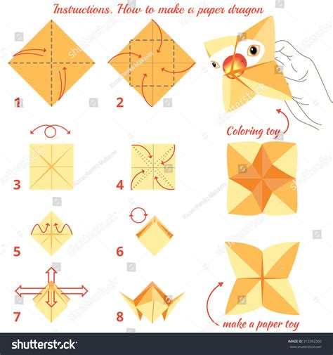 Steps To Make Paper - how make paper bird origami stock