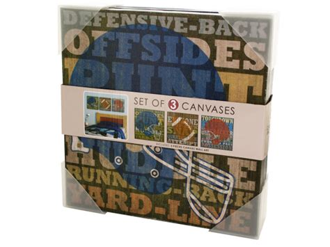 Football Home Decor | wholesale football canvas wrapped wall art set bulk