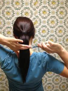 layer my hair with ponytail method how to hair girl cut your own hair archives