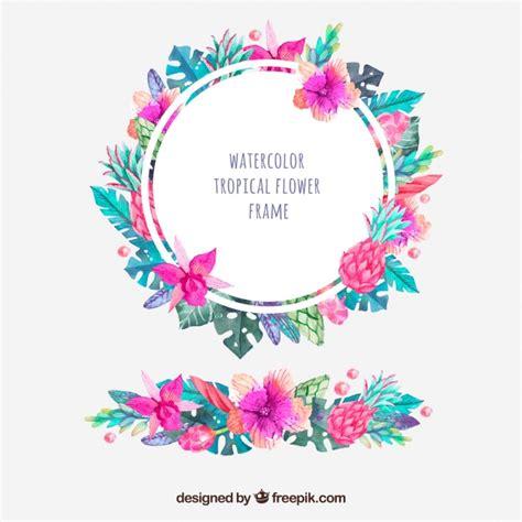 imagenes flores exoticas gratis marco redondo de flores tropicales de acuarela y ornamento