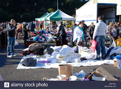 boat sale exeter car boot sale at marsh barton exeter devon stock photo