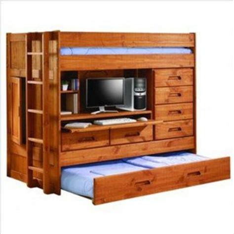 Loft Bed With Closet And Desk by Loft Bunk Bed W Trundle Bed Rear From Rjj869 On Ebay