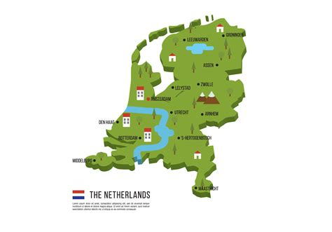 netherlands map vector netherlands flat map free vector stock
