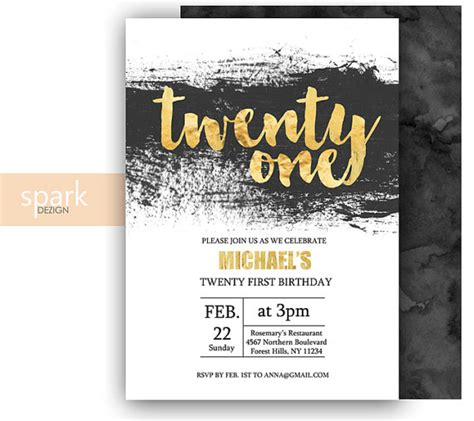 21st Invitation Card Template by Modern 21st Birthday Invitation For With Gold By