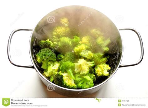 Vegie Green Pot steaming broccoli in an inox pot stock image image 29754129