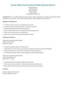 Safety And Occupational Health Specialist Sle Resume by 17 Best Images About Resame On Skin Care Specialist Supply Management And