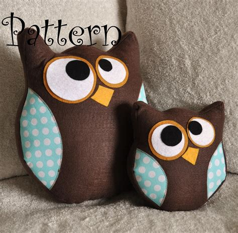 free printable owl pillow pattern owl pillow pattern set hooter the owl pdf tutorial and bonus